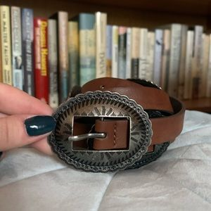 Brown and brushed silver western-inspired belt